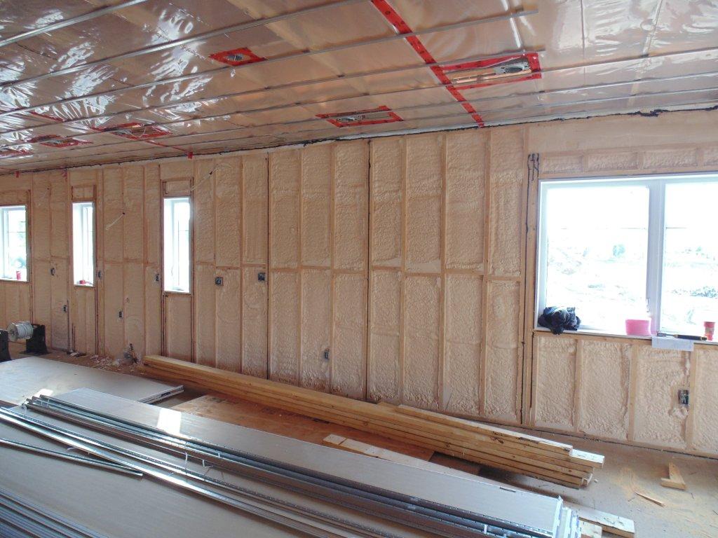 Spray foam insulated exterior walls.